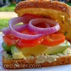 veggie and cilantro hummus sandwiches