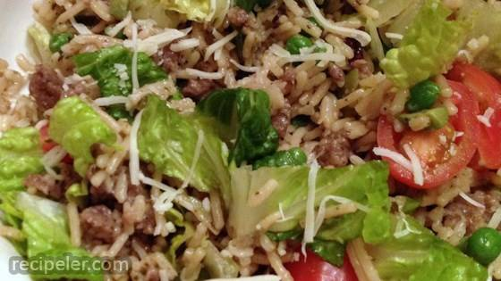 Warm talian Rice Salad with Sausage and Romaine