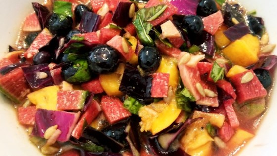 Watermelon Radish Salad With Peach And Blueberry