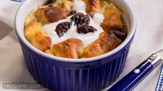 White Chocolate-Cherry Bread Pudding