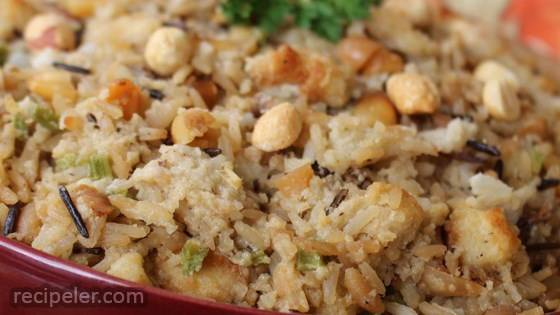 Wild Rice and Roasted Peanut Holiday Dressing