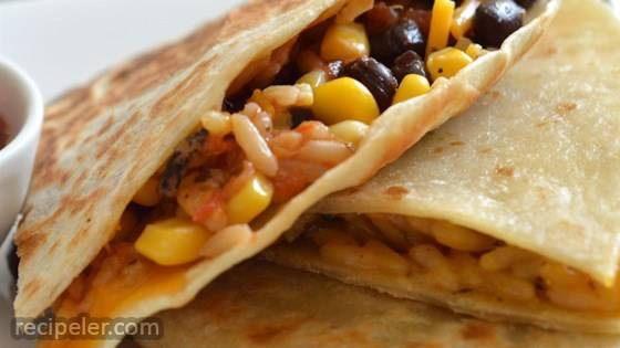 Wild Rice, Corn, and Black Bean Quesadillas