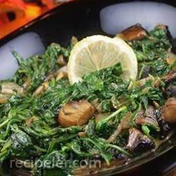 Wilted Arugula and Portobello Mushrooms