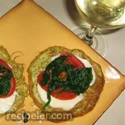 Zucchini Fritters with Fresh Mozzarella and Tomato