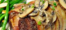 Bacon-Wrapped Venison Tenderloin with Garlic Cream Sauce