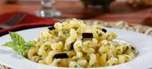 barilla® gluten free elbows pasta salad with basil pesto, eggplant & parmigiano cheese
