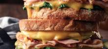 boar's head bold® bourbonridge™ uncured smoked ham and gouda sandwich