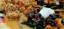 butternut squash and black bean tostadas