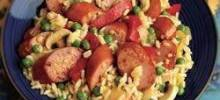 Cheesy Smoked Sausage and Rice Skillet