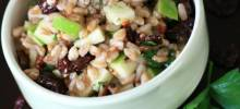 cherry farro salad with sweet vinaigrette