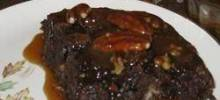 Chocolate Bread Pudding with Bourbon Pecan Sauce