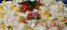 Corn Risotto with Roasted Red Pepper