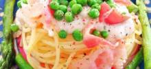 Creamy Fettuccine with Asparagus, Peas, and Prosciutto