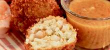 deep-fried prawn and rice croquettes
