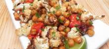 Easy Vegan Sheet Pan Roasted Cauliflower, Tomatoes, and Garbanzo Beans