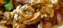 Flat ron Steak with Mushroom Sauce