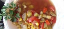 Green and Red Tomato and Corn Soup