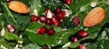 Kale Salad with Pomegranate, Sunflower Seeds and Sliced Almonds