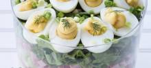 Layered Deviled Egg Pasta Salad