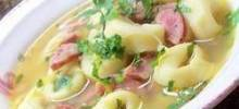 Mushroom, Leek, Chicken Sausage and Tortellini Soup