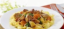 no yolks® cider glazed pork with noodles