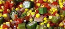 Okra, Corn and Tomatoes