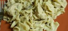 Pasta with Chicken Mushroom Cream Sauce