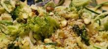 Roasted Broccoli Alfredo Pasta with Pistachio Crumble