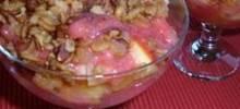 strawberry-sauced crunchy fruit salad