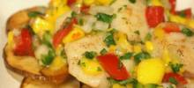 tropical mango salsa scallops