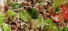 Warm talian Rice Salad with Sausage and Romaine