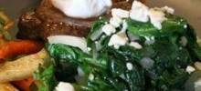 wilted spinach with cherries and goat cheese