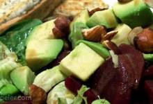 Avocado, Beet and Arugula Salad with Chevre Tartine