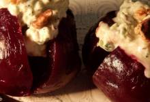 baked beet root with yogurt walnut dressing