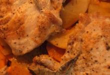 baked pork chops with sweet potatoes and apple