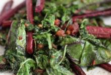 Beet Greens and Kale Sauteed with Bacon and Garlic