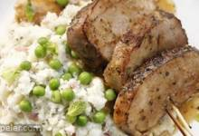Chevre Mashed Potatoes with Peas and Grilled Pork Tenderloin