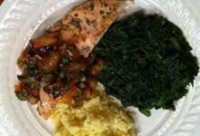 Chicken Breasts with Plum Salsa and Basmati Rice