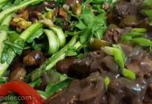 Chicken Livers with Red Wine and Bacon