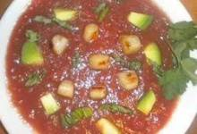 Chilled Tomato Soup with Seared Scallops, Avocado, and Ripped Basil