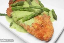 Creamy Asparagus Sauce with Chicken Schnitzel
