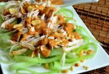 cucumber chicken salad with spicy peanut dressing