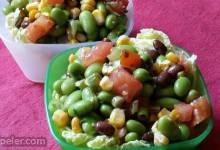 Edamame Salad with Homemade Garlic Cilantro Vinaigrette