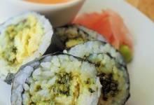 egg and pesto sushi
