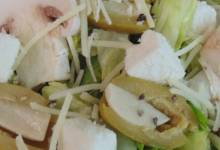 feta garlic salad with mushrooms