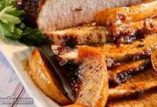 Gingersnap Pork Loin Roast with Apples, Currants, and an Apple Cider Pan Reduction Sauce