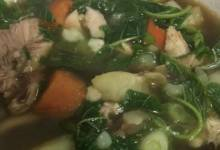 green amaranth and chicken soup