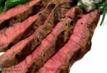 Grilled Flat ron Steak with Blue Cheese-Chive Butter
