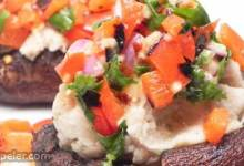 Grilled Portobello Mushrooms with Mashed Cannellini Beans and Harissa Sauce