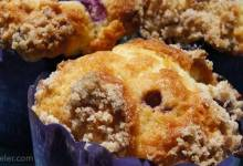 mango blueberry muffins with coconut streusel